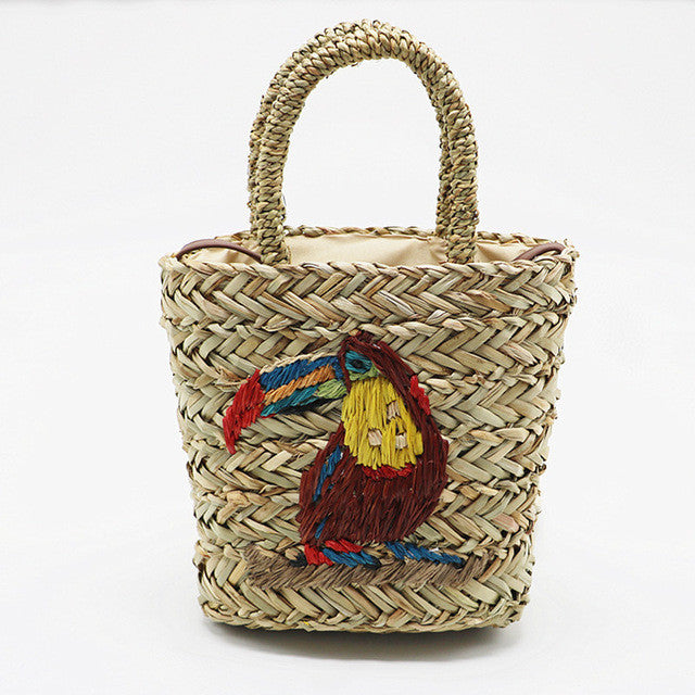 Handmade parrot embroidered straw bag summer hand-woven bag beach bag