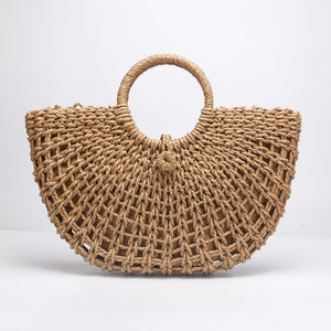 New straw bag paper rope round bucket hollow woven bag retro casual belt buckle hand bag