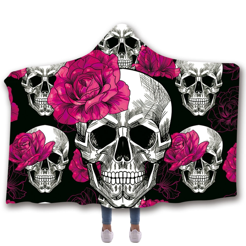 Scarves & Wraps Hooded Blanket 3D Print Harajuku pink flowers skull black bottom hooded poncho scarf shawl manteau femme hiver