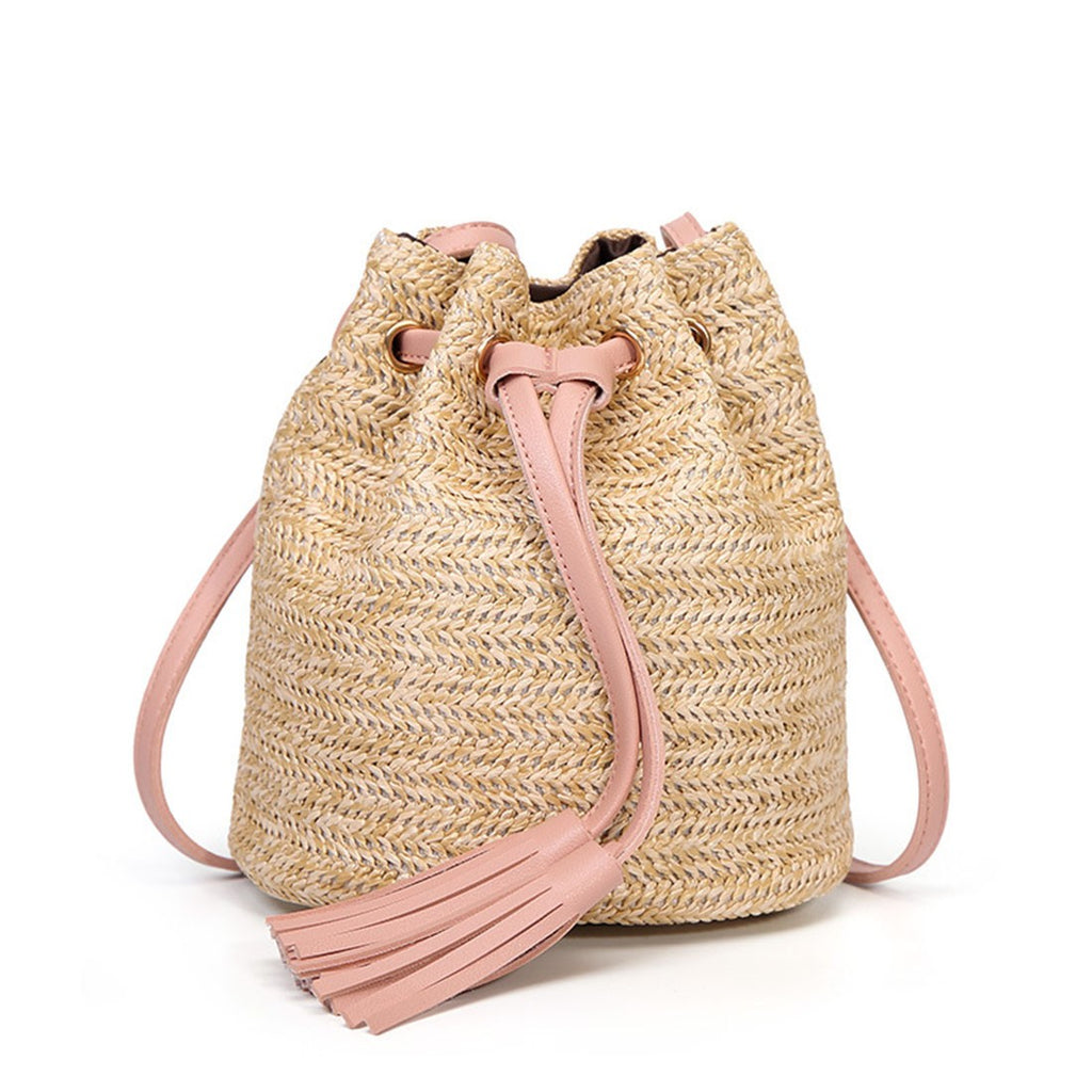 LianLe Rattan Beach Bag for Girl Women, Retro Single-Shoulder Straw Woven Bag Crossbody Shopping Bag Travel Bag
