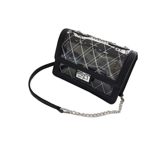 Messenger Chain Bag Transparent Jelly Bag Stylish Chain Small Square Shoulder Bag for Women Lady Girl (Black)