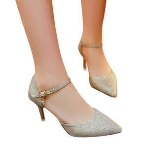 Women's Casual Thin Heels Shoes Female Pretty Sequins High-Heeled Shoes