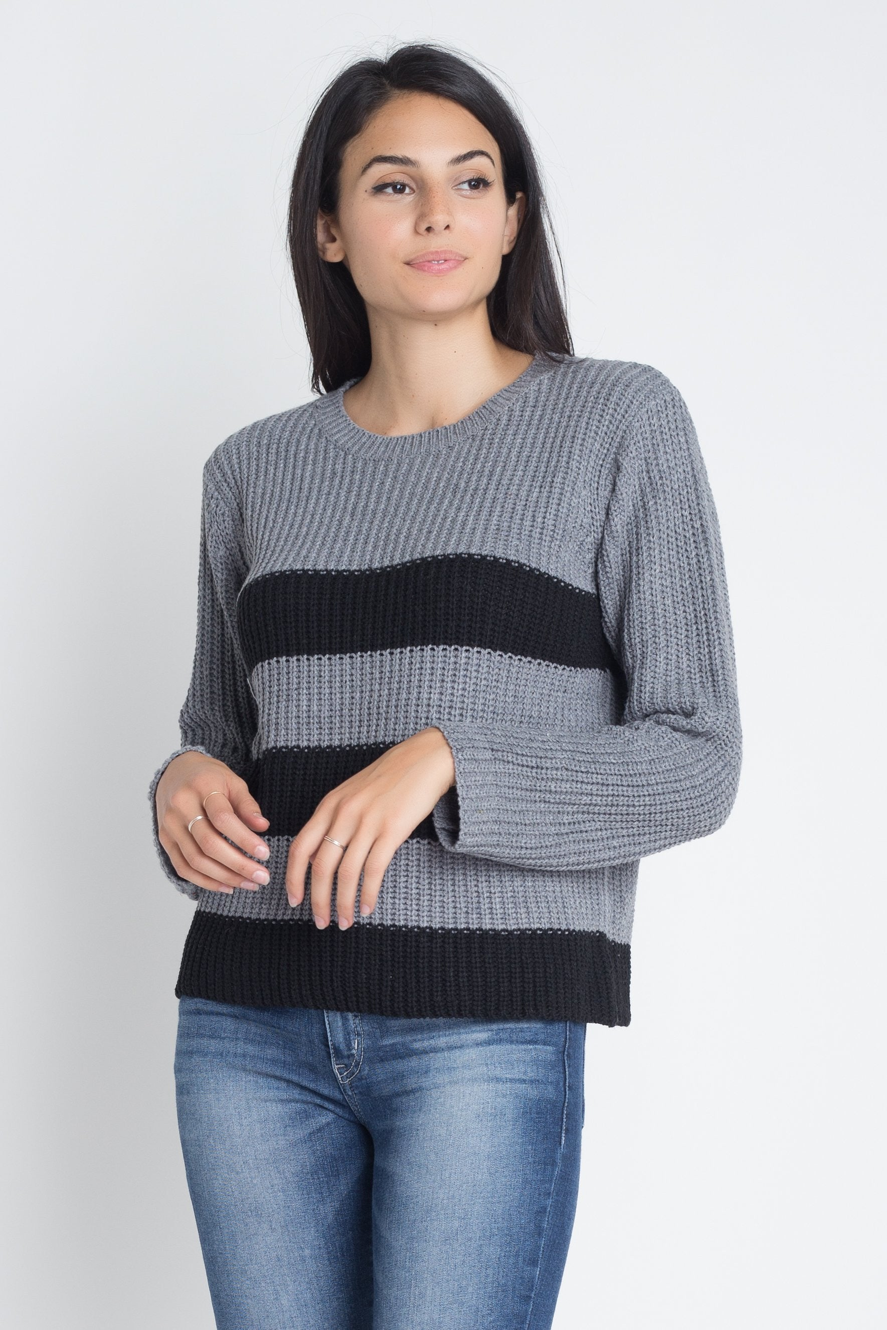 Women's Casual Stripe Round Neck Sweater