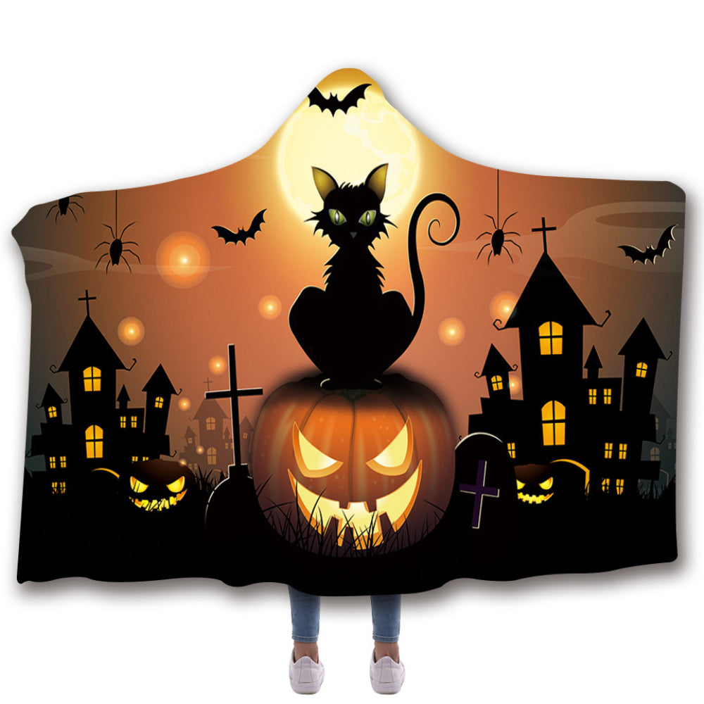 Scarves & Wraps Hooded Blanket 3D Print Harajuku Halloween pumpkin night black cat hooded poncho scarf shawl manteau femme hiver