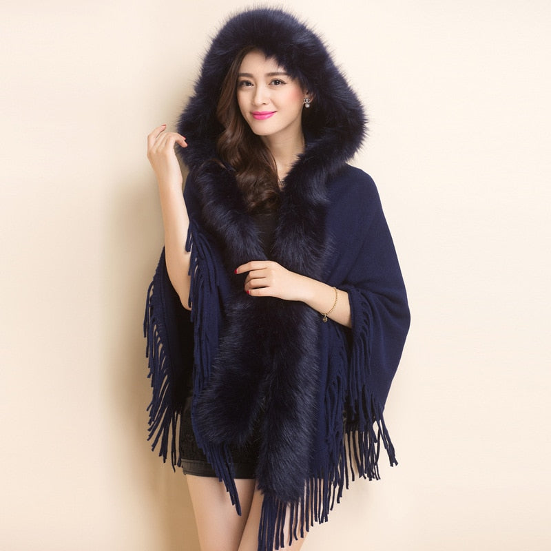 Warm Faux Mink fur shawl hooded cloak wool scarf Knitted Bride Cashmere tassels Pashmina Wraps Imitation fox hair Wedding Poncho