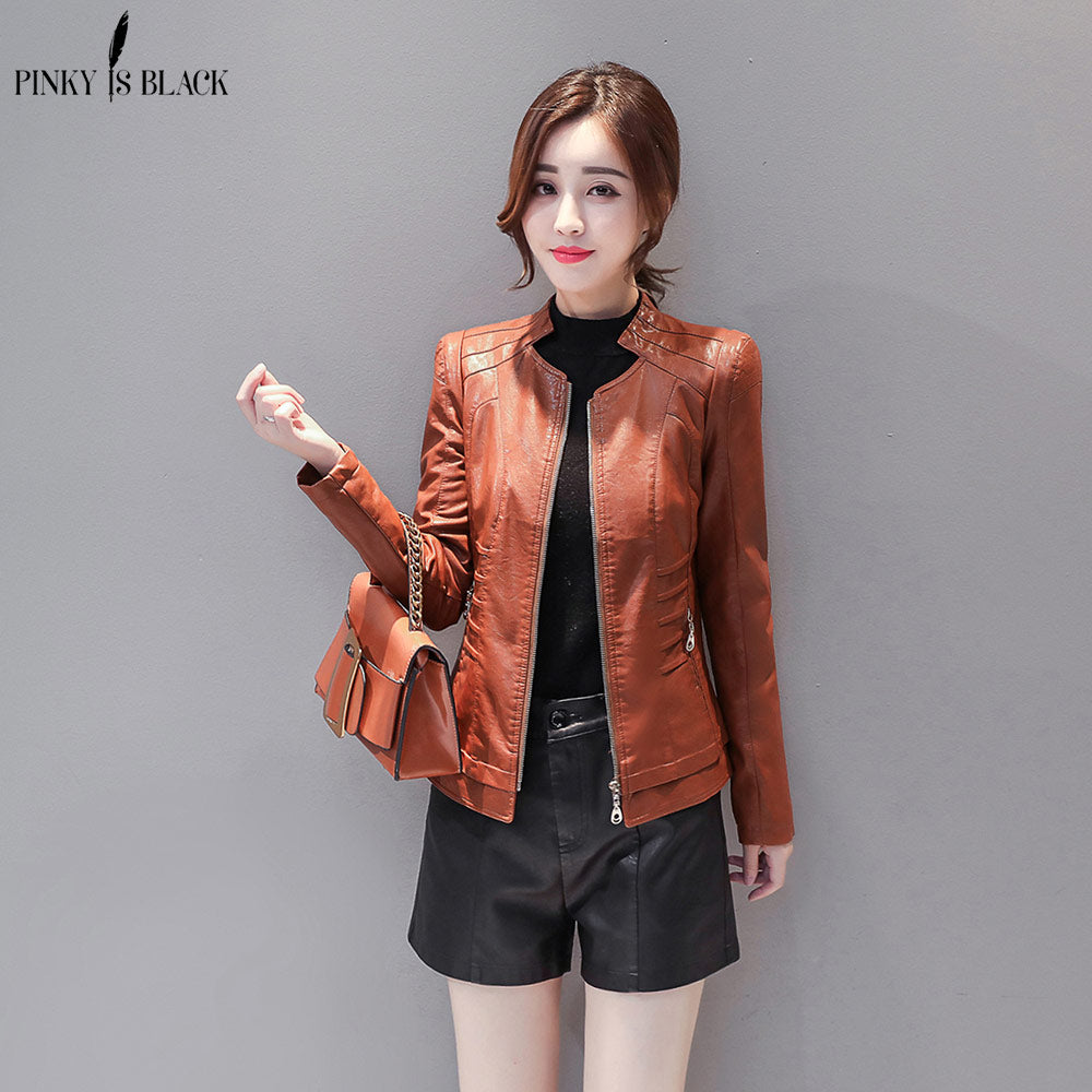 Short Motorcycle Leather Jacket