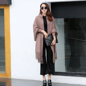 Disappearancelove Autumn and winter cape scarf dual cloak tassel double faced wool batwing sleeve sweater thickening sweate