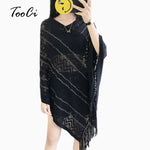 Women Casual Loose Knitted Tassel Poncho And Caps Lady Fashion Knitted Pashmina Scarves 2018 Autumn Winter Knitted Scarf Shawls