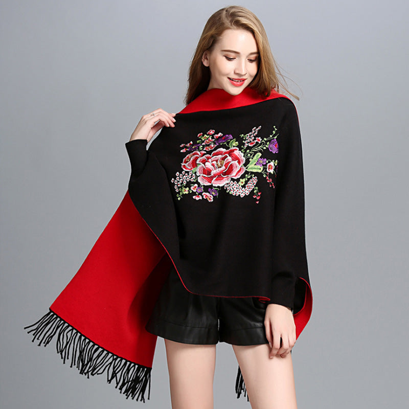 ZDFURS*Autumn And Winter Women Knitted Embroidery Wedding Shawl Scarf Cloak Cardigan Women Bat Sleeves Tassels Sweater Cardigan