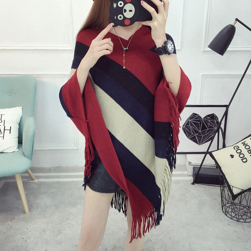 Ladychili Color Striped Cape Poncho Knit Tassels Echarpe Women Keep Warm Winter Pashmina Spain DesigN Pullover Scarves Wraps S62