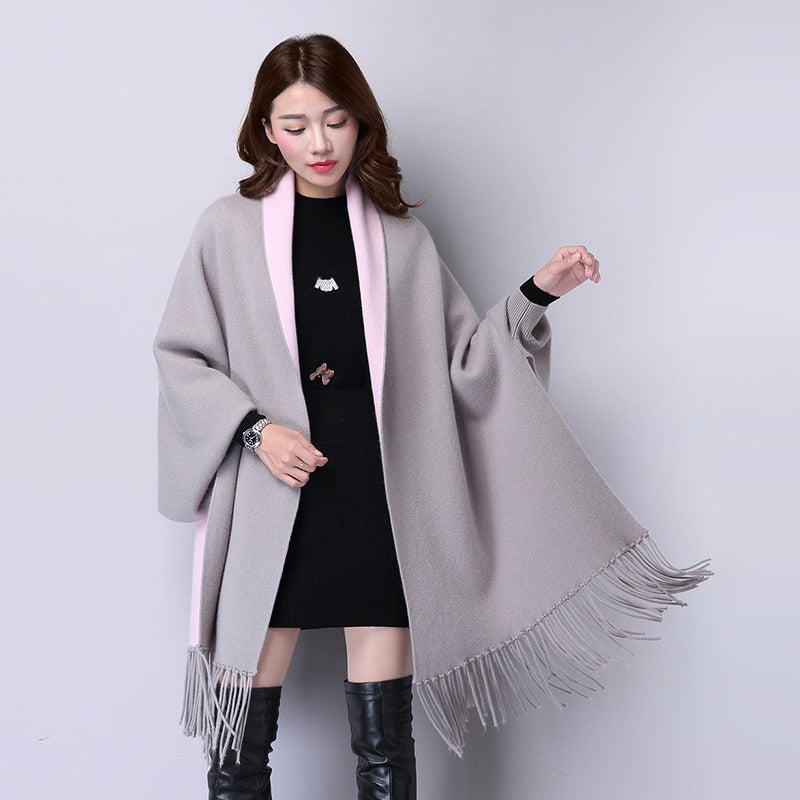 Ladychili Fashion Elegant Women Keep Warm Long Boatwing Sleeve Cardigan Scarves Wraps with Tassel Knit Two Color Soft Swing S72