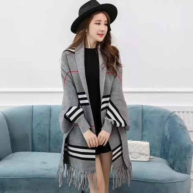 Female Wrap Swing Sweaters New Fashion Big Size shawl Scarf Long Tassel Striped Autumn Winter For Women Knitted Cardigans