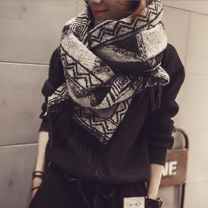 Autumn Winter Fashion Women Scarf Collar Tassel sweater long style wrap swing batwing sleeve striped sweaters cardigans jumpers