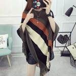 Autumn Women Knitted Poncho Shawl Sweater Fashion Tassel Pullover Batwing Sleeve Loose Knitted Cape Outwear