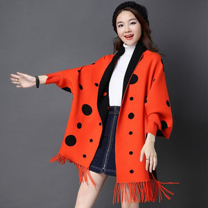 YaLiShi Dot Print Cardigan Women 2017 New Winter Cardigan Sweater Coat Batwing Sleeves Cashmere Tassels Poncho Swing Scarf