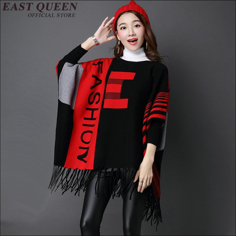 Womens Lady Knit Shawl Cape Cashmere Scarf Poncho Women's Winter Poncho Vintage Blanket  AA1588X
