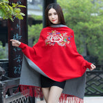 Female Peony Flower Embroidery Cashmere Tassel Cloak Coat New Autumn and Winter Loose Knitting Cardigan Sweaters Shawl For Women