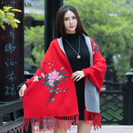 Fashion Tassel Shawl Cloak 2018 New Spring Sweater Women Floral Embroidery Bat Long Sleeves Casual Loose Knitted Cardigan Coat