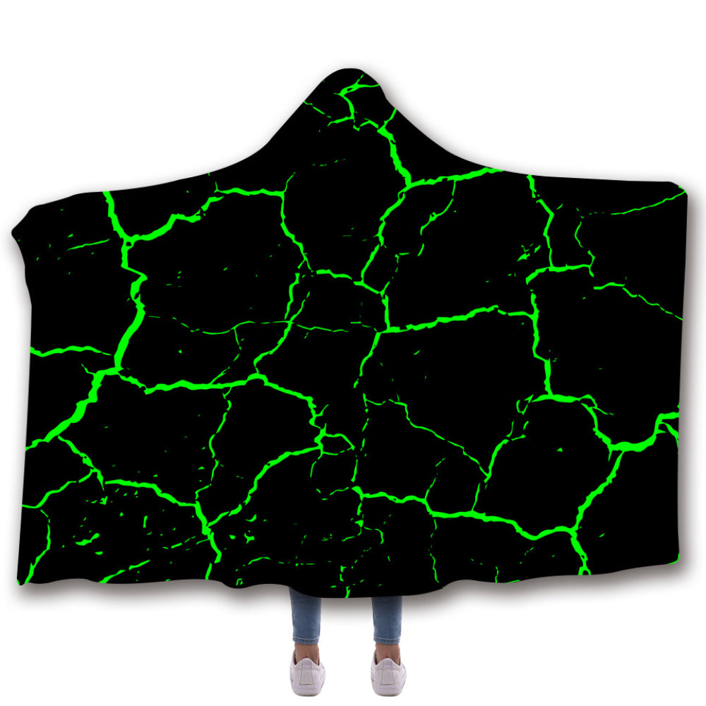 Scarves & Wraps Hooded Blanket 3D Print Harajuku Green marbled crack black hooded poncho scarf shawl manteau femme hiver