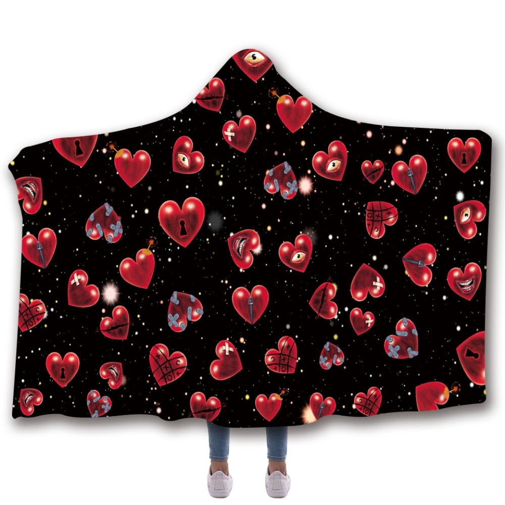 Scarves & Wraps Hooded Blanket 3D Print Harajuku Black bottom red love lock hooded poncho scarf shawl manteau femme hiver
