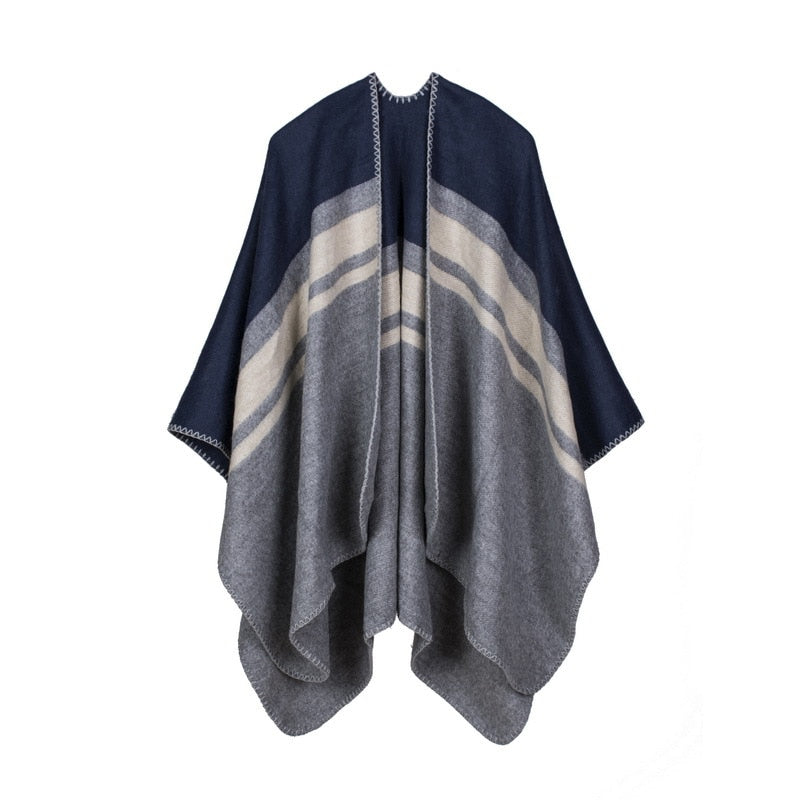 New fashion women outdoor warm scarf oversized shawl and wrap top quality knitted Cashmere Capes and Ponchos for lady SC-35