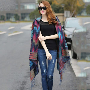 Autumn Winter Print Shawl Jacket Knitted Sweater Vintage Ethnic Oversized Hooded Cardigan Women Cashmere Tassel Poncho Cape Coat