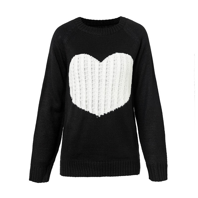 Conmoto Regular O Neck Long Sleeve Sweater Heart Patchwork Winter Thin Knitwear Pullover Sweters Women Invierno 2018