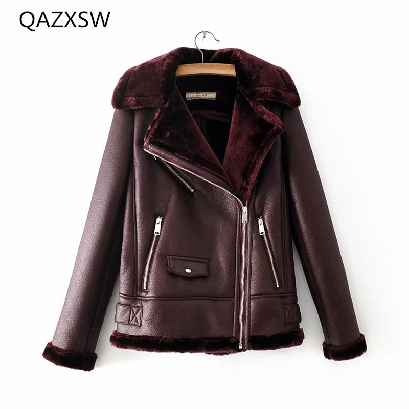 2018 Winter New Women's Leather Jacket Coat Motorcycle