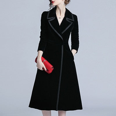 New Arrival Professional OL Long Black Trench Coat  (S-XL)