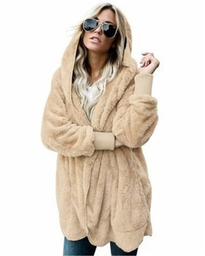 Women Fashion Faux Fur Teddy Bear Hooded Winter (S-5XL)