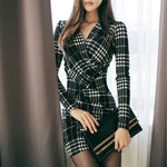 Professional Women Elegant Plaid V-neck Sexy Slim Dresses (S-XL)