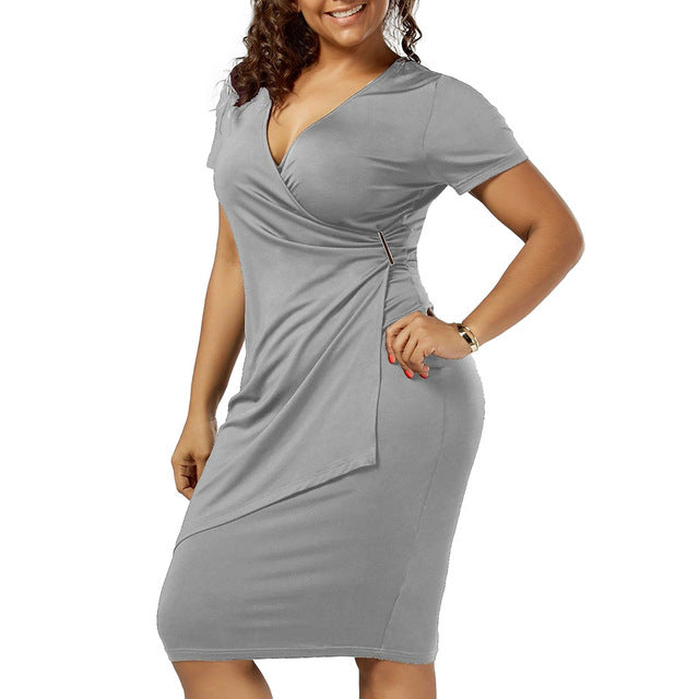 Woman's Office Casual V-Neck Solid Dresses (XL-5XL)