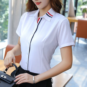 New Arrival Solid White Professional Women's Shirts (S-5XL)