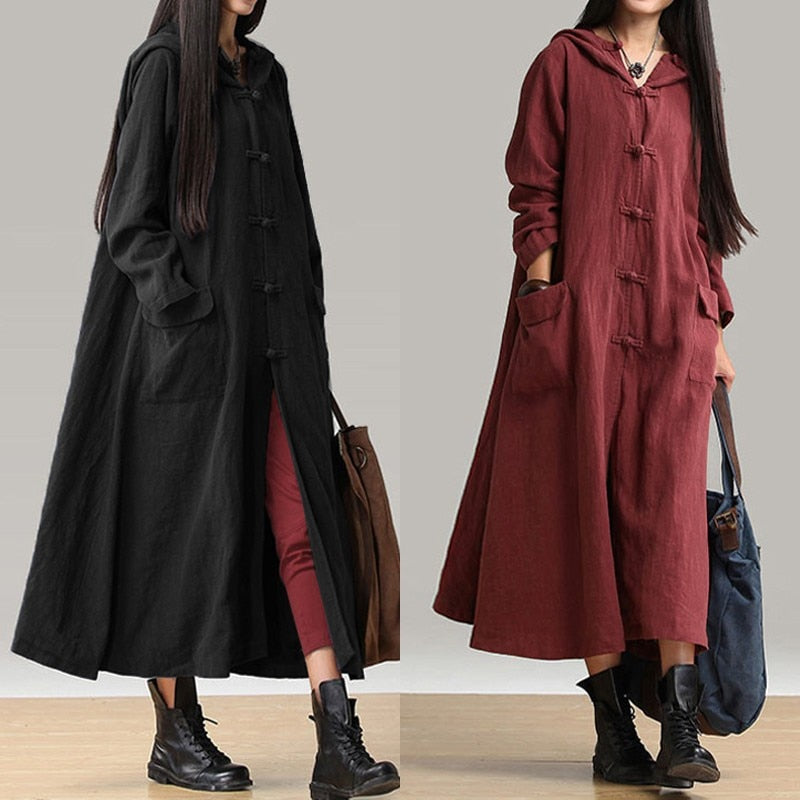 2019 Autumn Vintage Women Casual Hooded Button Loose Coat