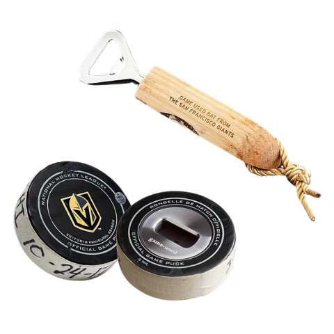 Game Used Puck and Bat Bottle Openers