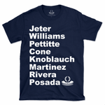 3 Peat NY Yankees 1998-2000 Roster T-shirt featuring Derek Jeter, Bernie Williams, Andy Pettitte, David Cone, Chuck Knoblauch, Tino Martinez, Mariano Rivera and Jorge Posada.