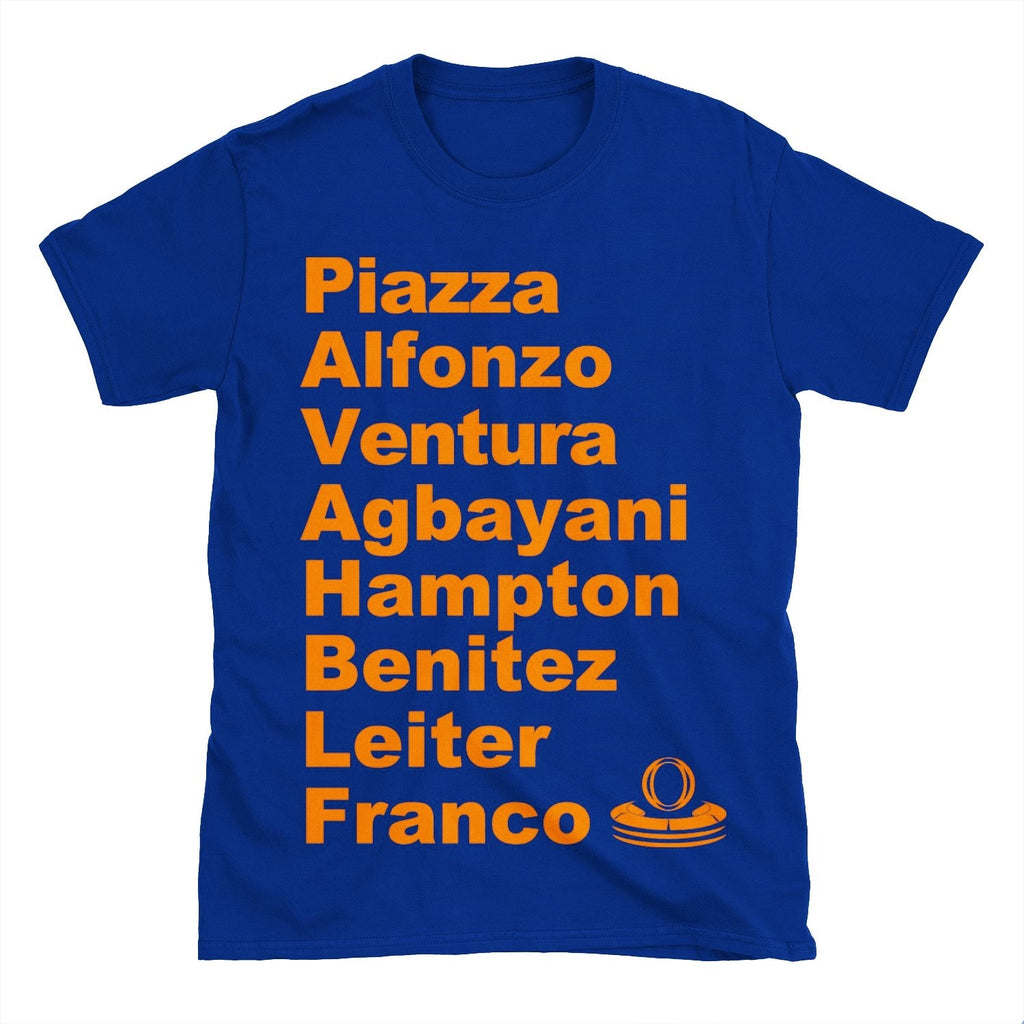 Amazins NY Mets 2000 Roster T-shirt featuring Mike Piazza, Edgardo Alfonso, Robin Ventura, Mike Hampton, Benny Agbayani, Armando Benitez, Al Leiter and John Franco.