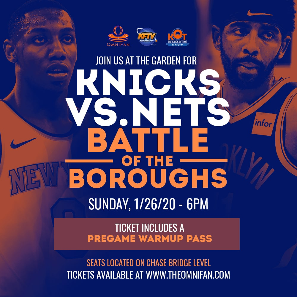 Knicks vs Nets Battle of the Boroughs game at Madison Square Garden. Sunday 1/26/20 at 6PM. Tickets available on the Chase bridge level. Ticket comes with a pregame warmup pass.