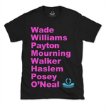 Miami Heat 15 Strong Roster T-shirt featuring Dwayne Wade, Gary Payton, Alonzo Mourning, Shaquille O'Neal and more.