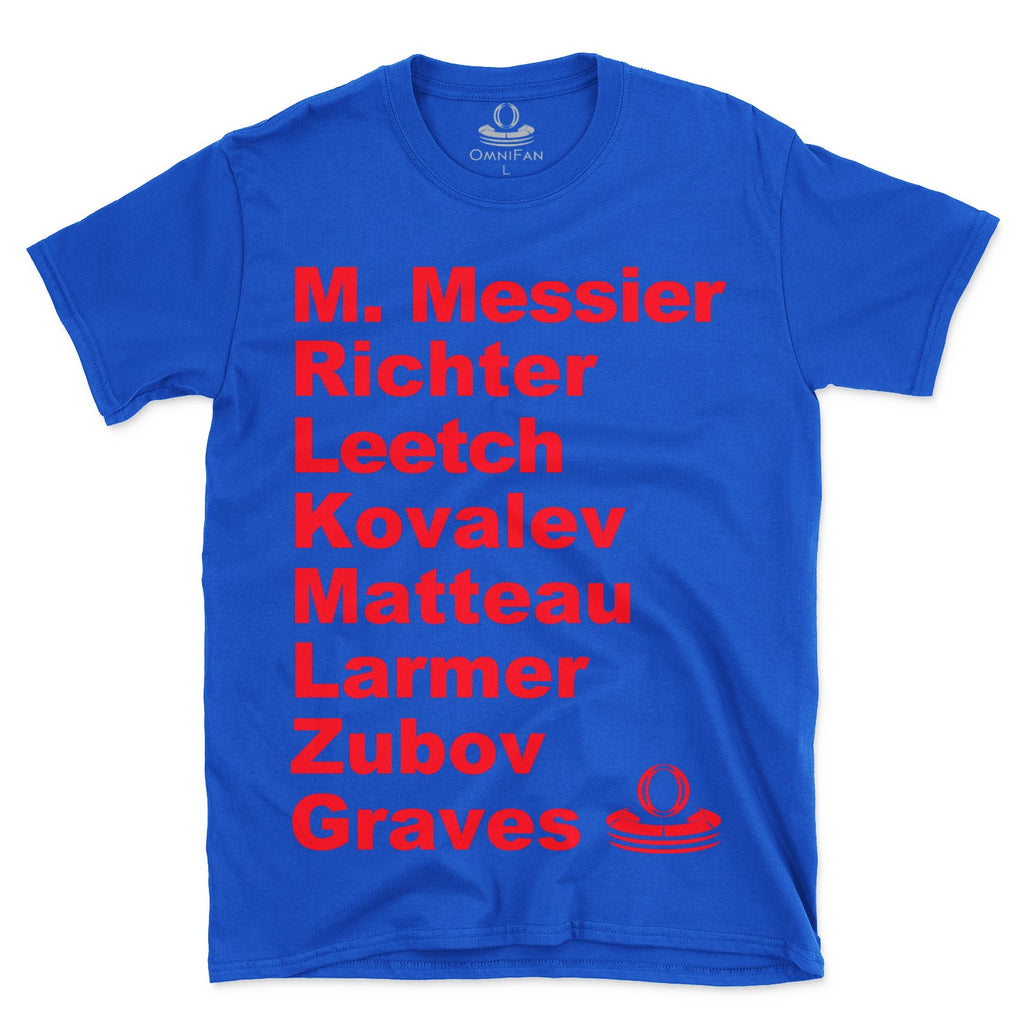 NY Rangers Miracle Rangers Roster T-shirt featuring Mark Messier, Mike Richter, Steve Larmer, Stephane Matteau, Alexei Kovalev, Adam Graves, Sergei Zuov and Brian Leetch.
