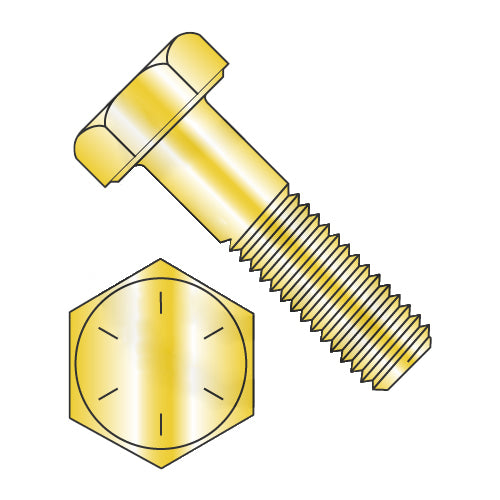7/16-14 x 1 1/2 Hex Cap Screw Grade 8 Yellow Zinc-Bolt Demon