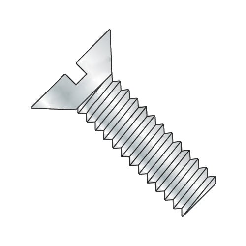 1/4-28 x 1 1/2 Slotted Flat Machine Screw Fully Threaded Zinc-Bolt Demon