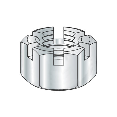 1 1/8-7 Slotted Hex Nut Zinc-Bolt Demon
