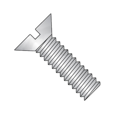 3/8-16 x 2 1/2 Slotted Flat Machine Screw Fully Threaded 18-8 Stainless Steel-Bolt Demon