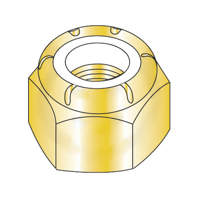 1/4-20 NE Nylon Insert Hex Lock Nut Zinc Yellow-Bolt Demon