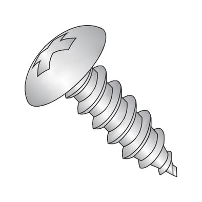 10-12 x 7/8 Phillips Full Contour Truss Self Tapping Screw Type A Full Thread 18-8 Stainless-Bolt Demon