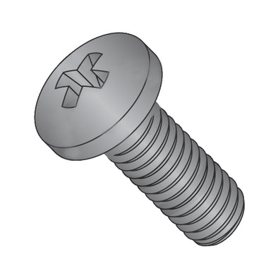1/4-20 x 5/8 Phillips Pan Machine Screw Fully Threaded Black Zinc-Bolt Demon