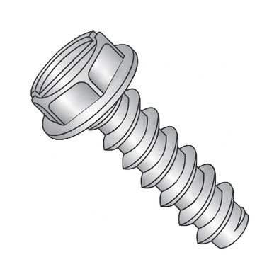12-14 x 3/8 Slotted Indented Hex Washer Self Tapping Screw Type B Fully Thread 18-8 Stainless-Bolt Demon