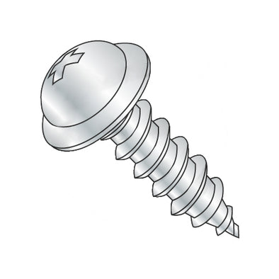 8-15 x 2 1/2 Phillips Round Washer Self Tapping Screw Type A Fully Threaded Zinc-Bolt Demon