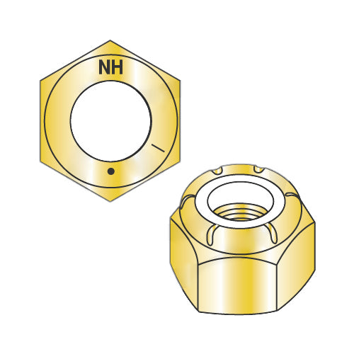 1-8 N1610 Nylon Insert Hex Locknut NE Light Hex Standard Height Grade 8 Zinc Yellow-Bolt Demon